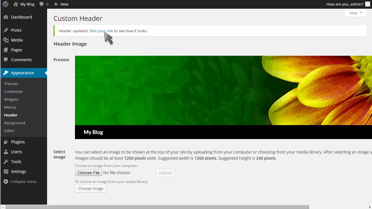 how to create wordpress header image